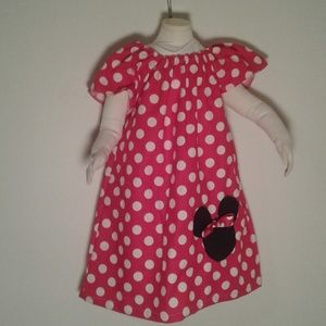 Minnie Mouse 4t Peasant Dress Red White Polkadot